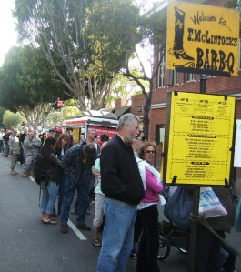 The line at F. McLintock's BBQ.  There's a reason for it.